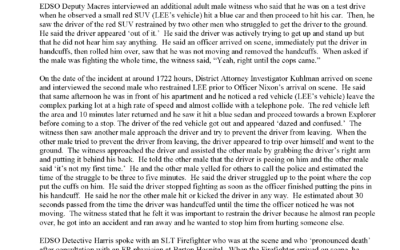 Review of Officer Involved Critical Incident – Lawrence Ray Lee